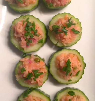 Cucumber Cups with Citrus Smoked Salmon
