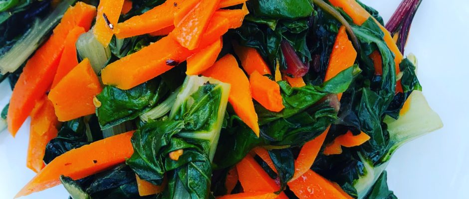 Swiss Chard with Spicy Carrots and Garlic Oil