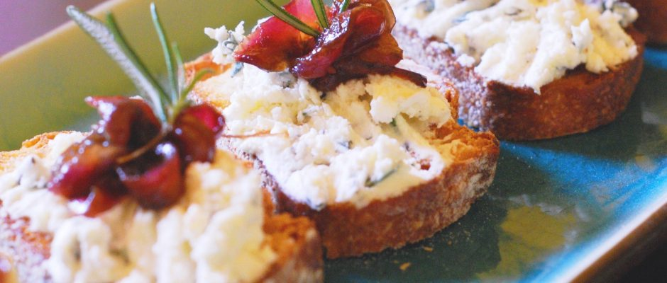 Crostini with Herbed Chevre and Caramelized Onion Relish