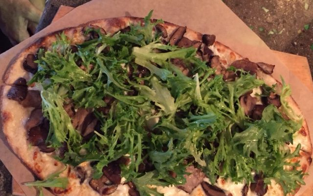 Flatbread with Greens, Mushrooms and Chevre