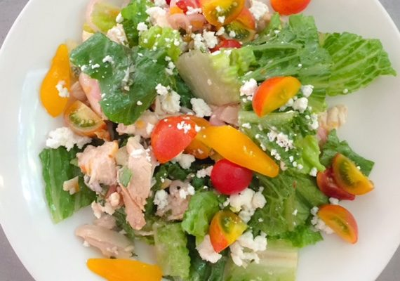 Chicken Salad with Mixed Greens and Chevre