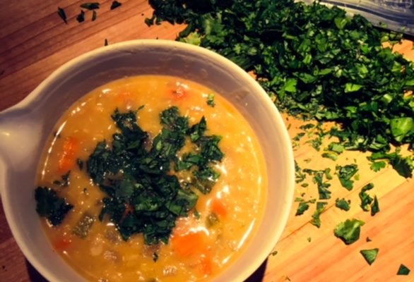 Red Lentil Soup with Cilantro and Kale- Vegetarian